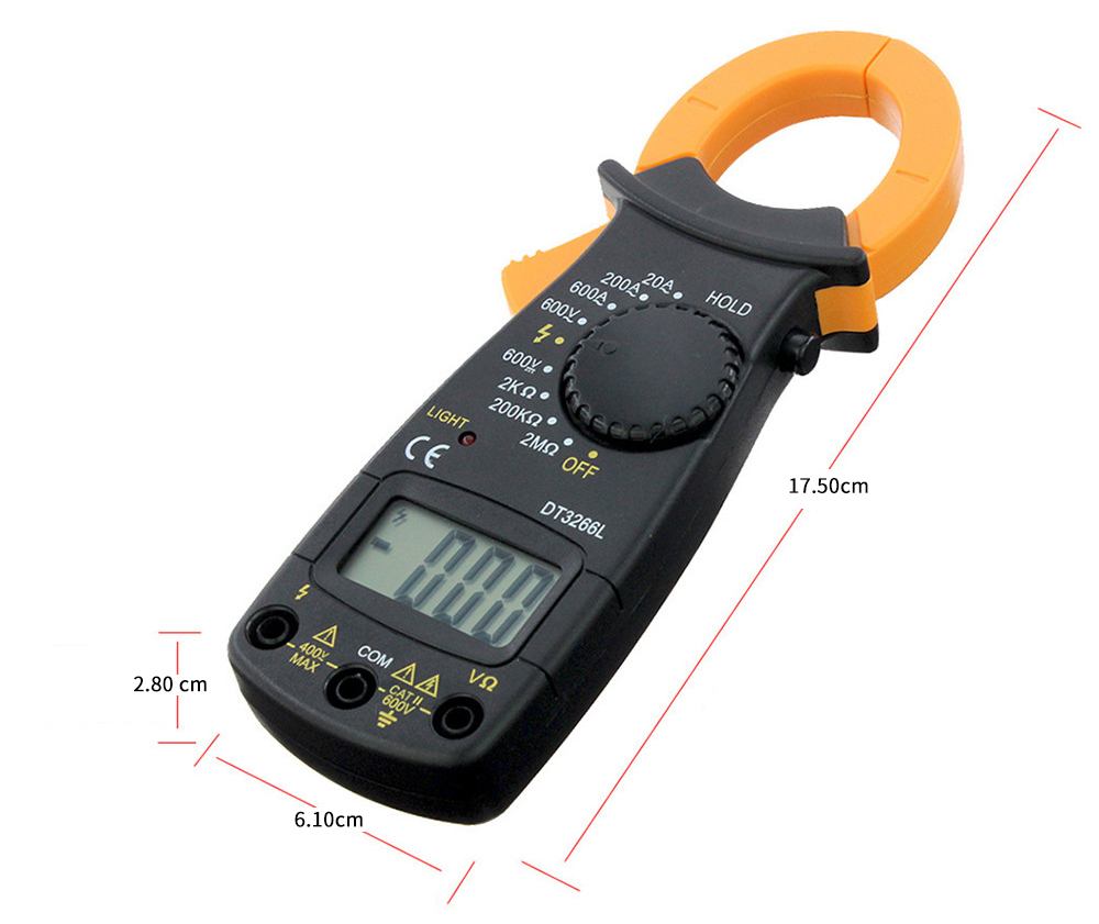 Dt3266l Hand Held Digital Clamp Multimeter 617 Free Shipping Electrician Testing Doorbell Transformer With Black
