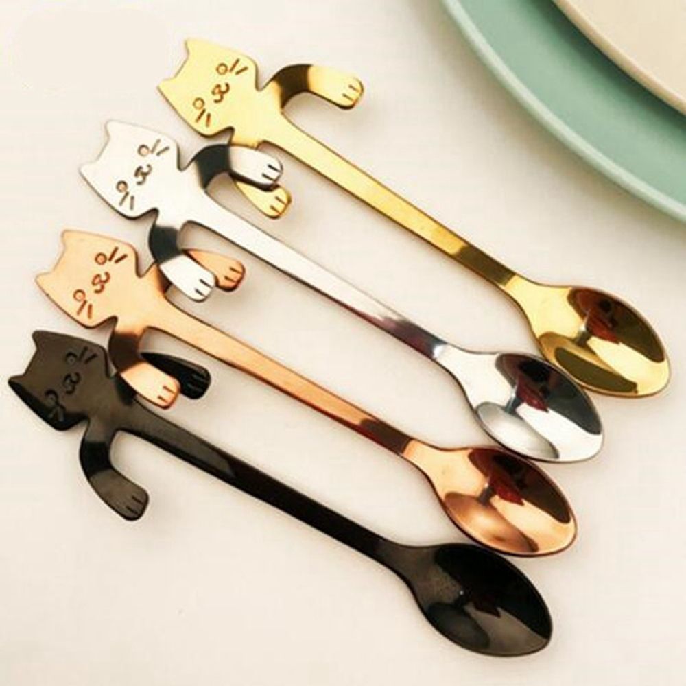 1Pcs Stainless Steel Cat Coffee Drink Spoon Tableware Kitchen Supplies- Silver