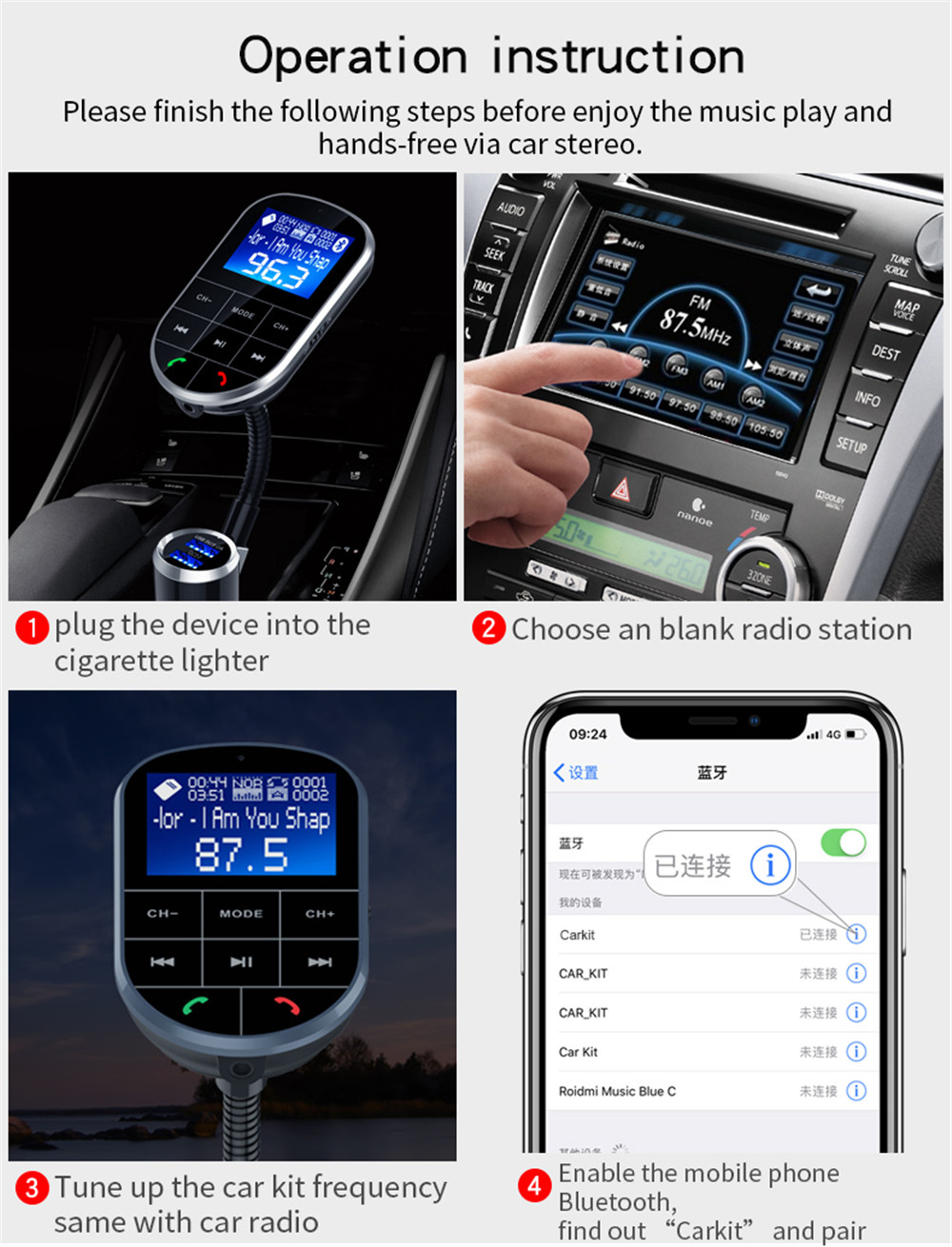 SpedCrd BC37 Bluetooth FM Transmitter Car MP3 Player USB Charger