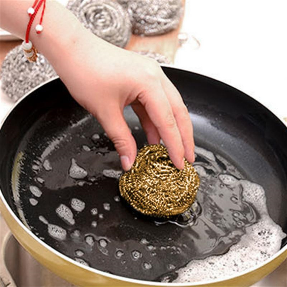 Cleaner Steel Cleaning Wire Sponge Ball- Gold