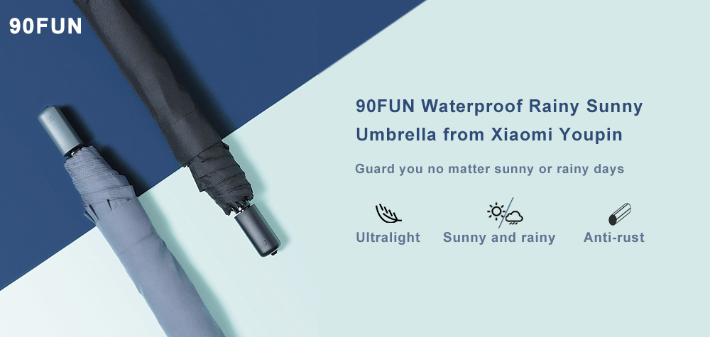 90FUN Practical Waterproof Rainy Sunny Umbrella from  Youpin- Black