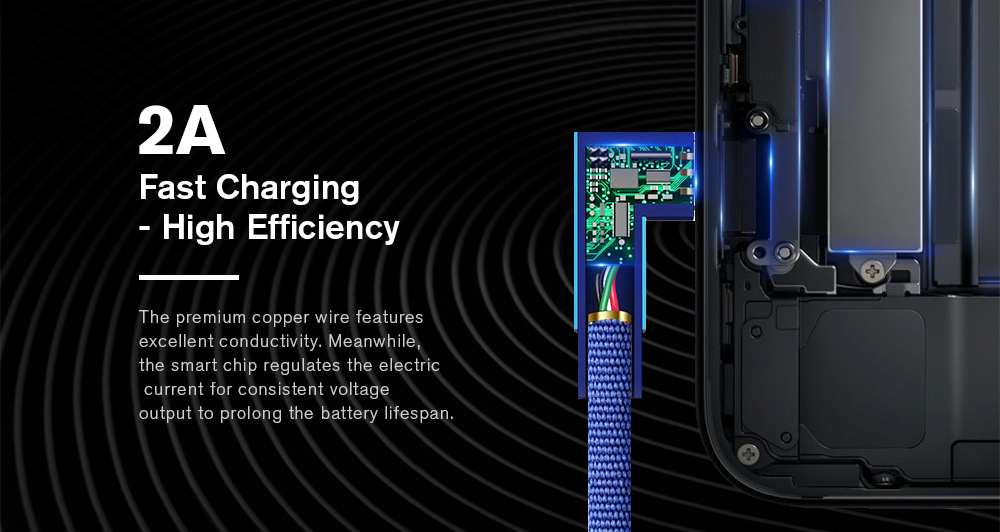 Fast Charging More Durable Comfortable with 90-degree Aluminum Alloy Connector- Cobalt Blue
