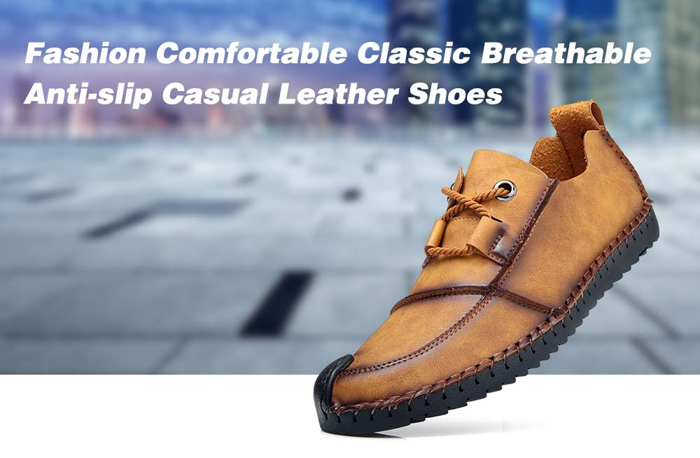 76fd7999a4 Fashion Comfortable Classic Breathable Anti-slip Casual Leather Shoes for  Men- Golden brown EU