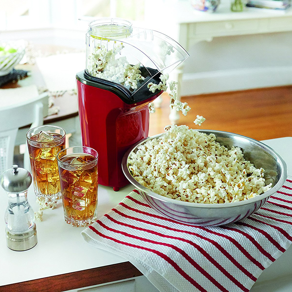Electric Household Oil Free Popcorn Maker Machine Corn Popper For Home Kitchen- Bean Red