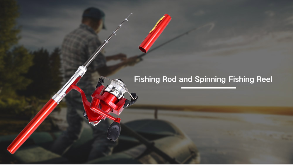 Pen Shape Fish Rod and Fishing Reel Angling Tools - Blue Orchid