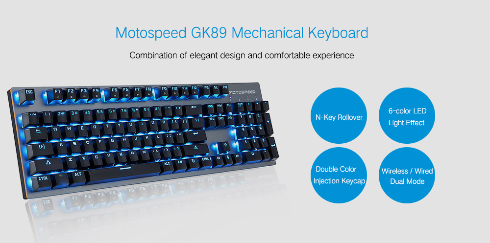 Motospeed GK89 2.4GHz Wireless / USB Wired Mechanical Keyboard 104Key- Black