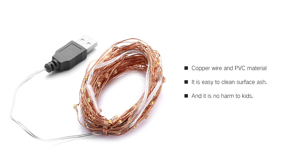10m 100-LED USB Light Strip for Decoration- Copper 1Pc