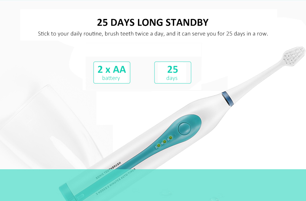 Alfawise RST2050 Sonic Electric Toothbrush Intelligent 2-min Timing with 2 Brush Heads- White