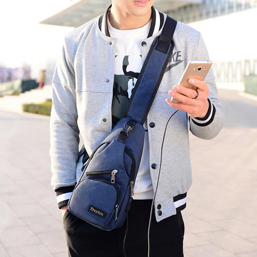 Men's Crossbody  Zipper Casual All Match Durable Bag- Gray 16cm x 7cm x 32cm