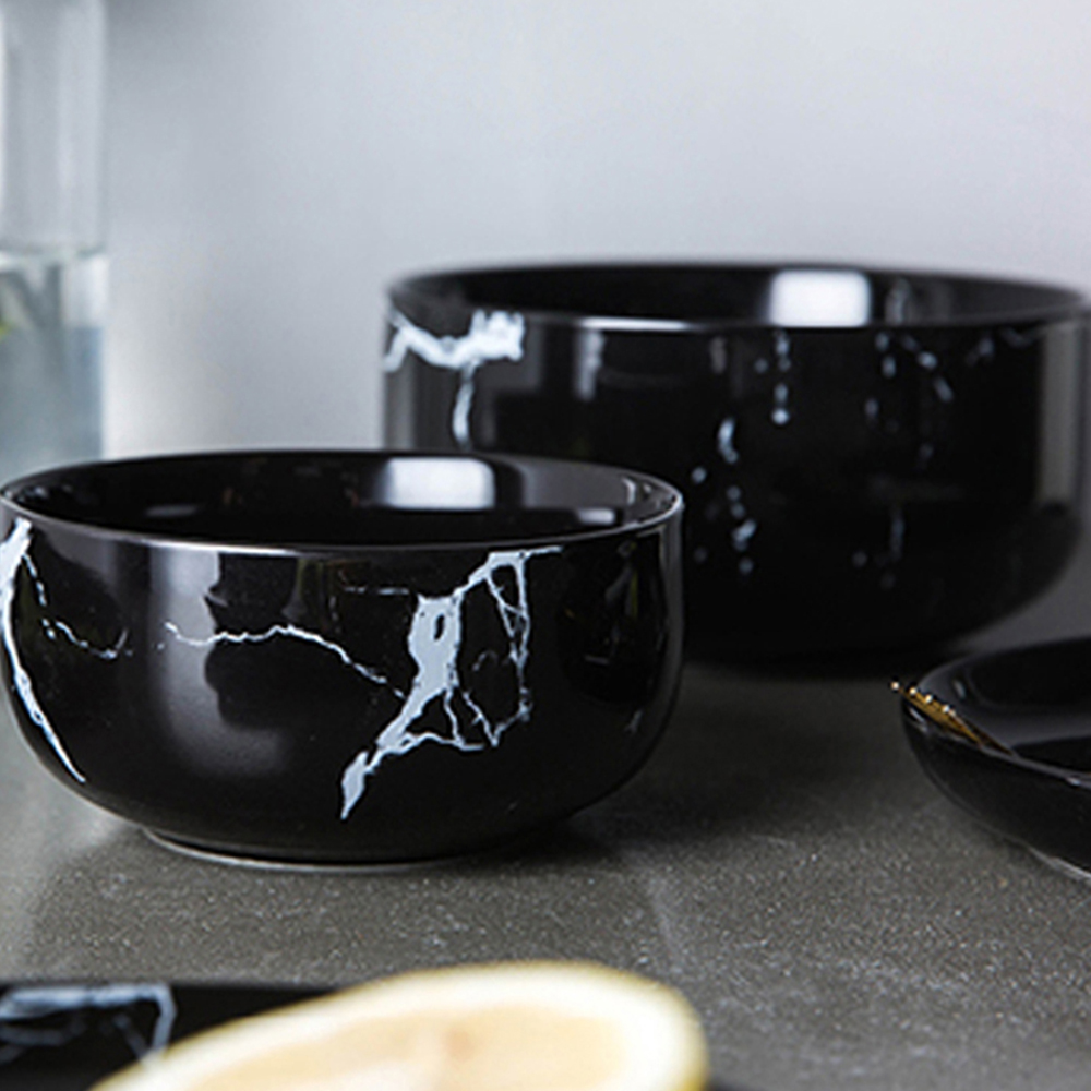Northern Europe Ceramics Marbling Tableware Household Fruits Salad Bowl- Black S