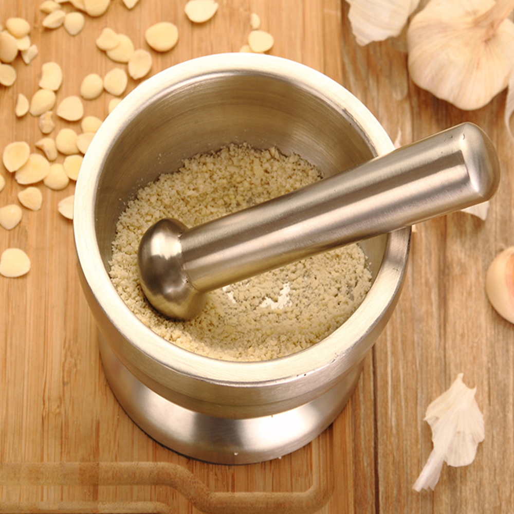 Stainless Steel Garlic Press Grinder Mortar Salt Pestle Pedestal Bowl Pot- Silver