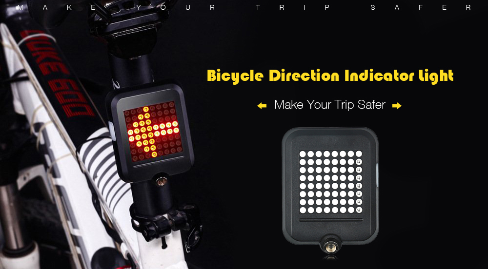 Intelligent USB Recharging Bicycle Direction Indicator Light- Black