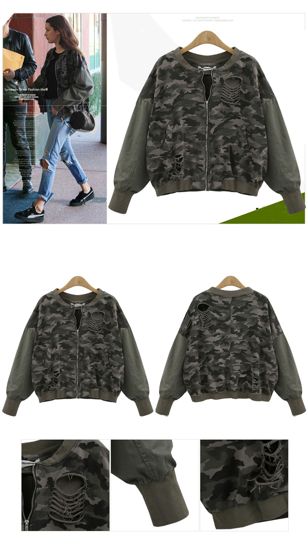 7f127c5f7266b Women's Casual Wash Water Hole Sleeves Color Camouflage Jacket- Army Green L