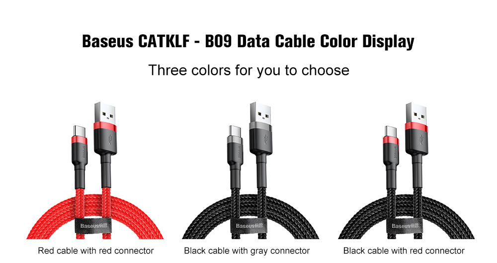 Baseus cafule CATKLF - B09 Braided 3A Type-C USB Transfer Charging Date Cable 1m- Black