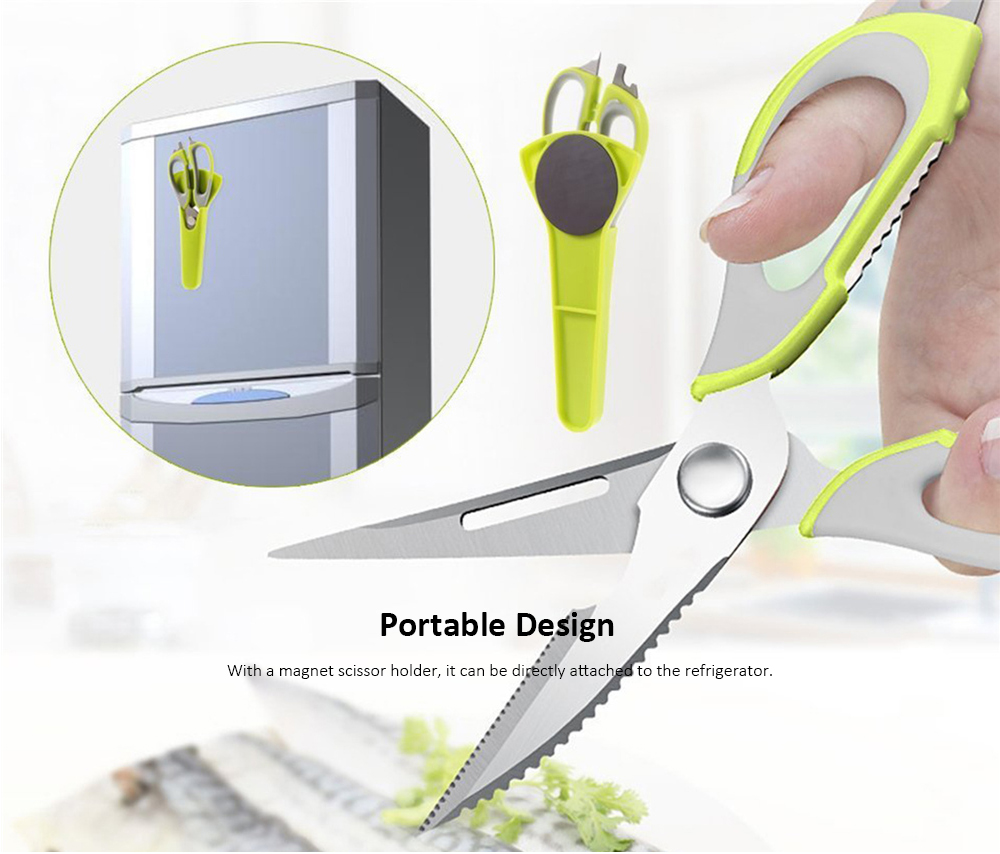 Home Use Stainless Steel Scissor Kitchen Multifunctional Knife- Pistachio Green