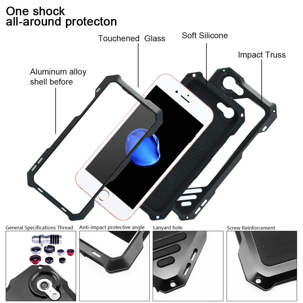 Water-Resistance Metal Case with 3 Camera Lens for iPhone 7 Plus / 8 Plus