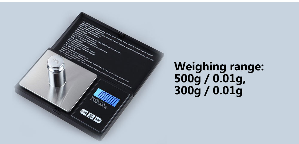 Portable Precision Electronic Scale 0.01g - Black 300g / 0.01g
