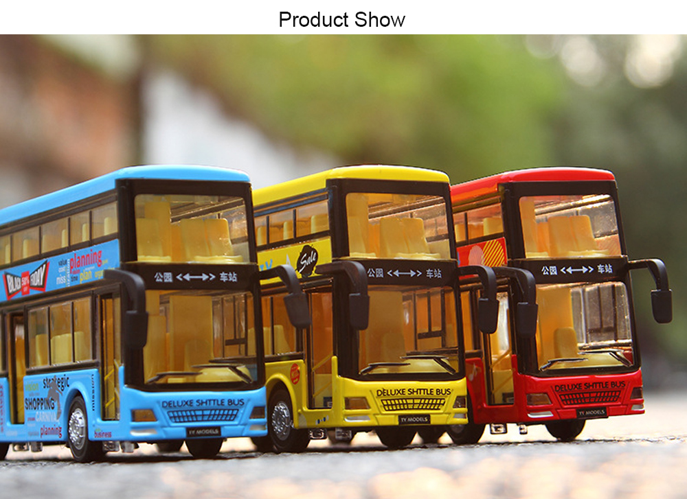 Kids Alloy Pullback Double-decker Bus with Lighting Sound Toy Model- Fire Engine Red