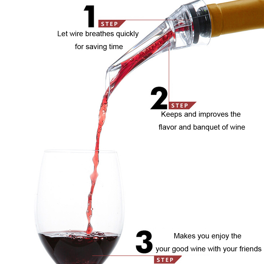 Decanter Red Wine Aerating Pourer Spout  Pouring Tool- Black