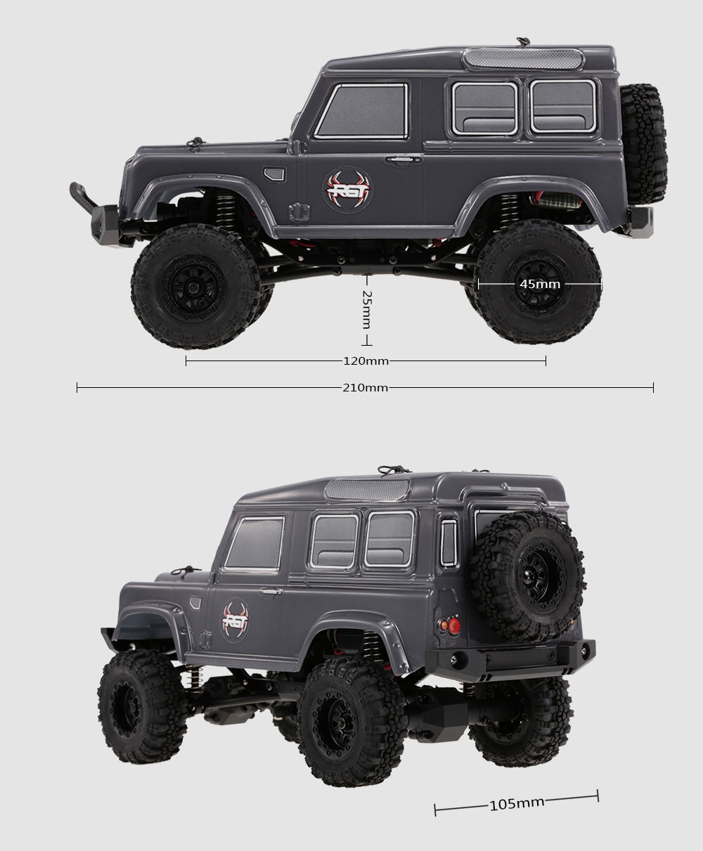 RGT 1/24 2.4G 4WD 15km/h RC Crawler Off-road Car - Carbon Gray Single battery version