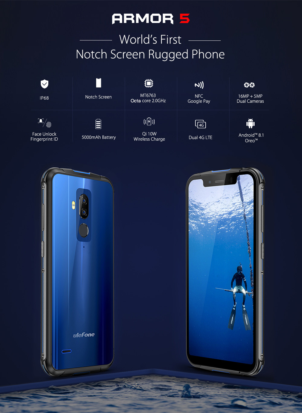 Ulefone Armor 5 4G Phablet 5.85 inch Android 8.1 Oreo MTK6763 Octa Core 2.0GHz 4GB RAM 64GB ROM 16.0MP + 5.0MP Rear Camera Fingerprint Sensor 5000mAh Built-in- Blue
