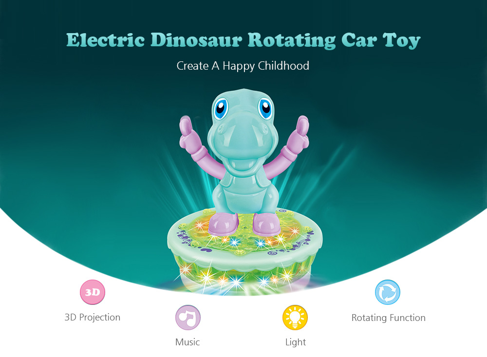 Electric Dinosaur Rotating Universal Car Toy with Lighting Music- Light Sea  Green