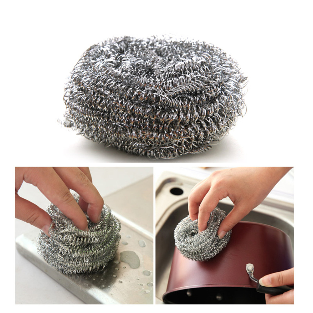 Pot Bowl Decontamination Stainless Steel Wire Ball Cleaning Supplie 6PCS- Silver