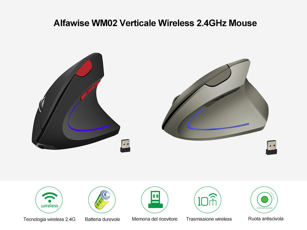 Alfawise WM02 Verticale Wireless 2.4GHz Mouse- Armata Brown