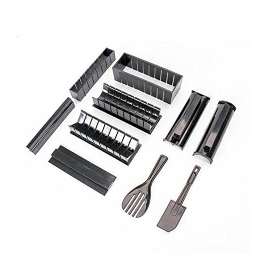 10 in 1 Sushi Maker Kit Rice Roll Mold Kitchen DIY Easy Chef Mould Roller Cutter- Black