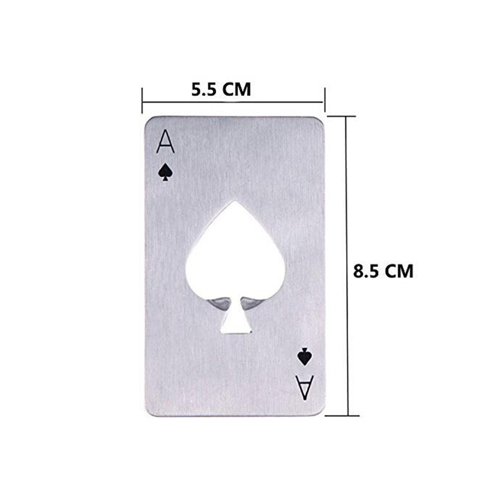Playing Card Ace of Spades Poker Bar Tool Bottle Soda Beer Cap Opener Gift- Silver
