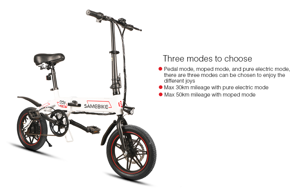 Samebike YINYU14 Smart Folding Bike Electric Moped Bicycle 8Ah Battery / with Double Disc Brakes- White UK Plug
