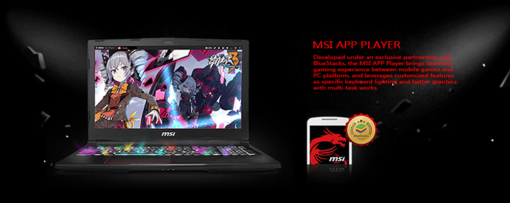 MSI GV62 8RD - 092CN Gaming Laptop 15.6 inch Windows 10 Home Chinese Version Intel Core i7-8750H Hexa Core 2.2GHz 8GB RAM 128GB SSD 1TB HDD HDMI Front Camera Type-C- Black