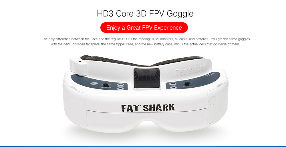 Fatshark Dominator HD3 Core 3D FPV Goggles with HDMI DVR Support Head Tracker- White