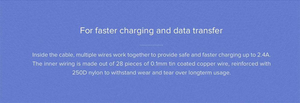 Original Xiaomi 2 in 1 Micro USB Type-C Sync Fast Charger Data Phone Charging Cable- White 100CM