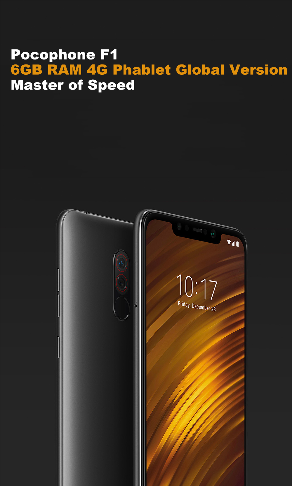 Xiaomi Pocophone F1 4G Phablet 6.18 inch Android 8.1 Snapdragon 845 Octa Core 2.8GHz 6GB RAM 64GB ROM 20.0MP Front Camera Fingerprint Sensor 4000mAh (typ ) / 3900mAh (min) Built-in- Red