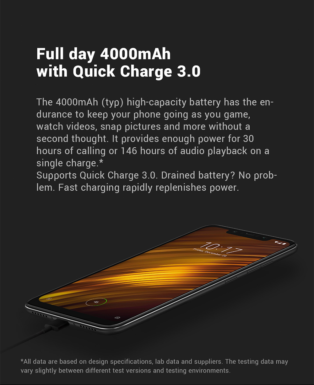 Xiaomi Pocophone F1 4G Phablet 6.18 inch Android 8.1 Qualcomm Snapdragon 845 Octa Core 2.8GHz 6GB RAM 64GB ROM 20.0MP Front Camera Fingerprint Sensor 4000mAh Built-in- Graphite Black