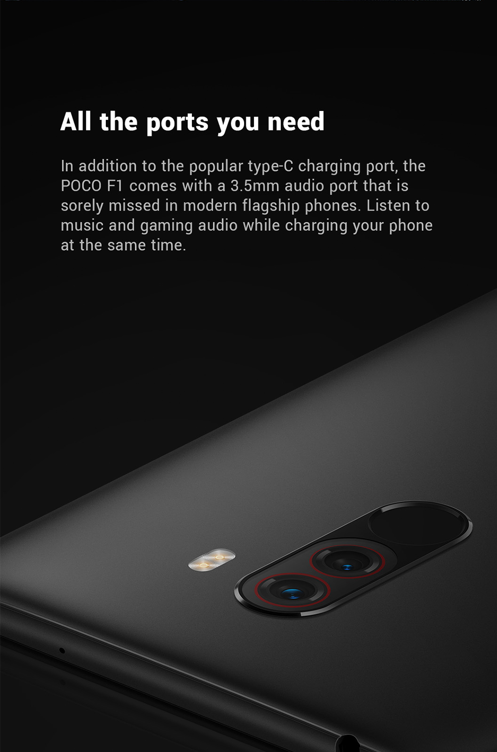 Refurbished Xiaomi Pocophone F1 4G Phablet 6.18 inch Android 8.1 Snapdragon 845 Octa Core 2.8GHz 6GB RAM 128GB ROM 20.0MP Front Camera Fingerprint Sensor 4000mAh Built-in- Graphite Black 6+128GB