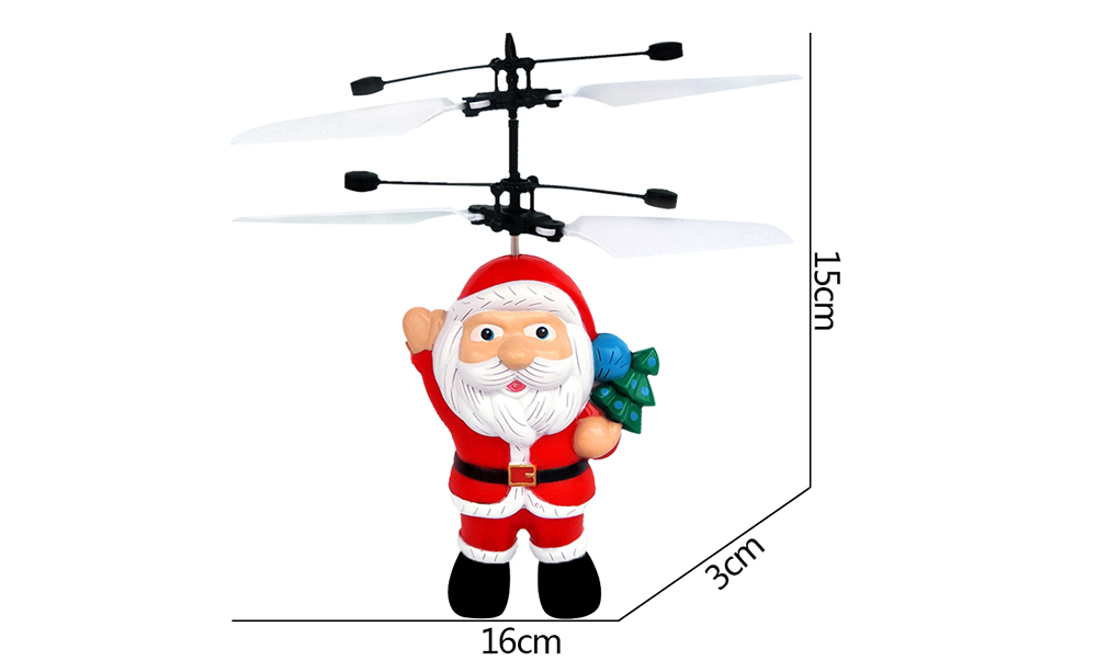 Electric Santa Claus Hand Induction Flying Doll Cartoon Suspension Aircraft Toys for Children- Scarlet