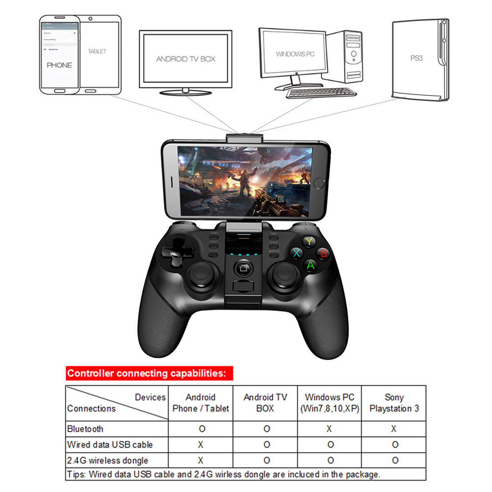 iPega PG - 9076 Bluetooth Gamepad with Bracket 2.4G Wireless Receiver- Black