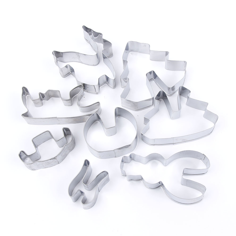 8Pcs 3D ChristmasStainless Steel Cookie Cutters- Silver