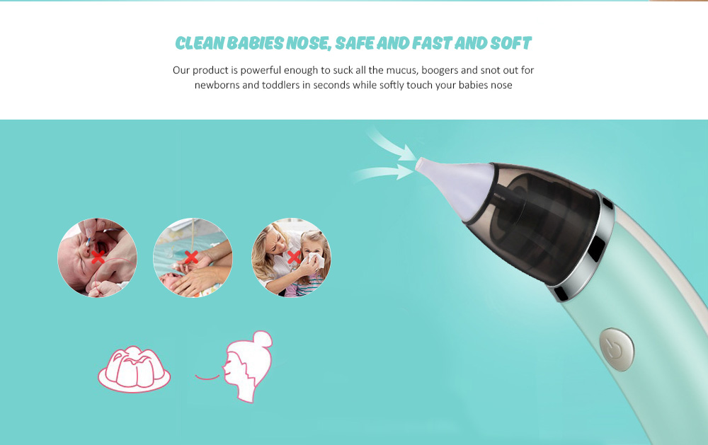 Baby Nasal Aspirator Nose Boogers Mucus Cleaner Snot Sucker for Infants and Kids- Robin Egg Blue