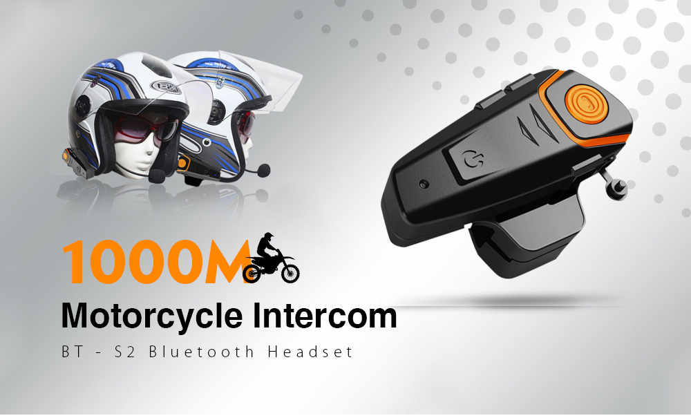 BT-S2 1000m Bluetooth Headset Motorcycle Intercom Auto Answer FM Radio Interphone with 300 Hours Long Standby- as the picture EU Plug