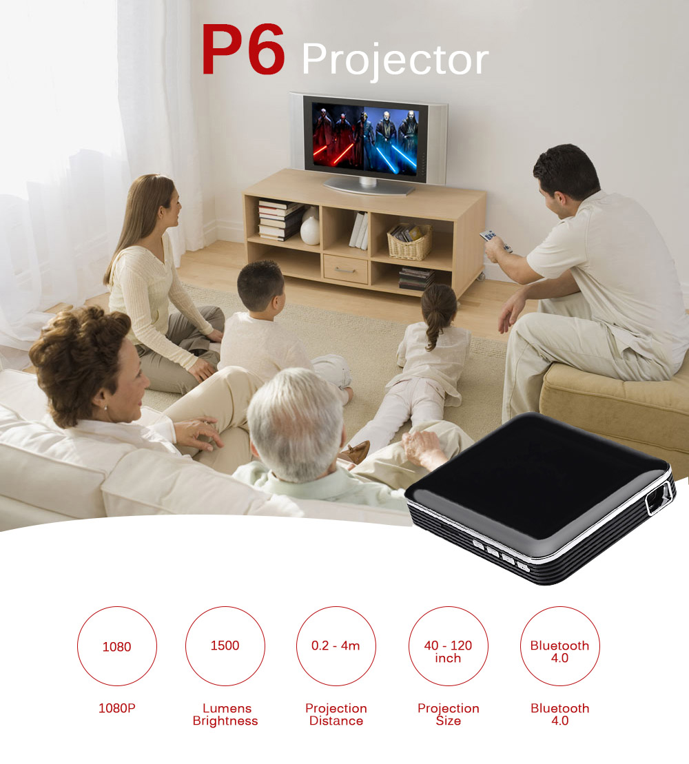 P6 DLP Mini projecteur 1080p Home Theater- Black UK Plug