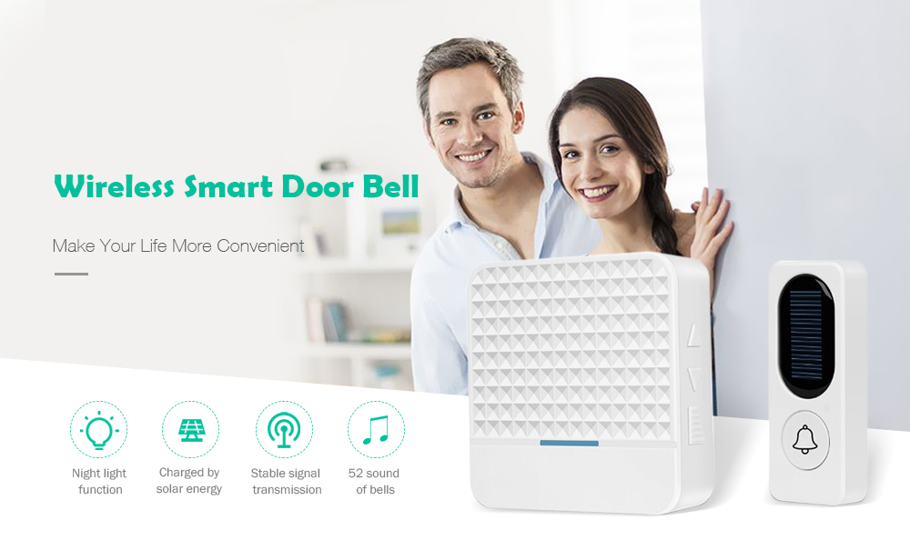 Wireless Smart Door Bell 300M Remote Waterproof Solar Power Doorbell for Home Security- White