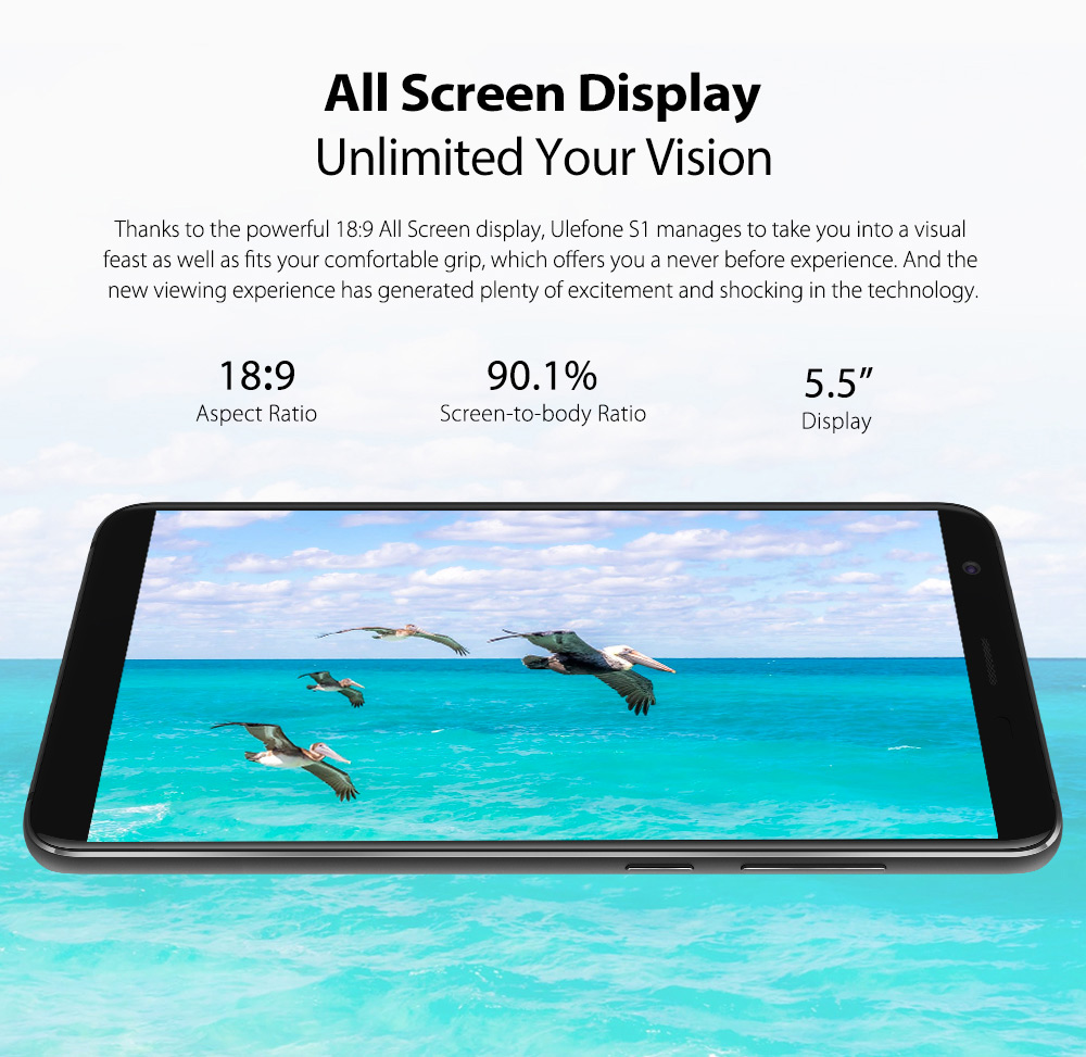 Ulefone S1 3G Phablet 5.5 inch Android 8.1 MT6580 Quad Core 1.3GHz 1GB RAM 8GB ROM 8.0MP + 5.0MP Dual Rear Cameras Face Unlock 3000mAh Detachable- Black