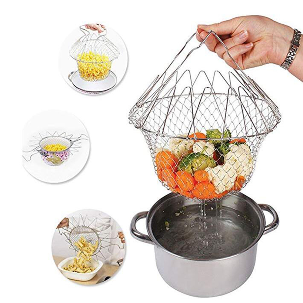 Stainless Steel Foldable Steam Rinse Strain Fry Basket Strainer Net- Silver