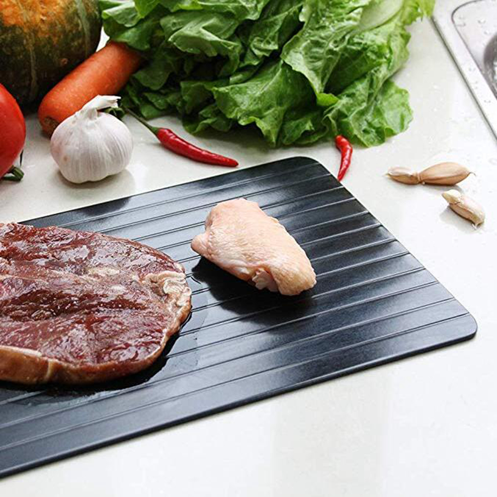 1pc Fast Defrosting Meat Tray Rapid Safety Thawing- Black