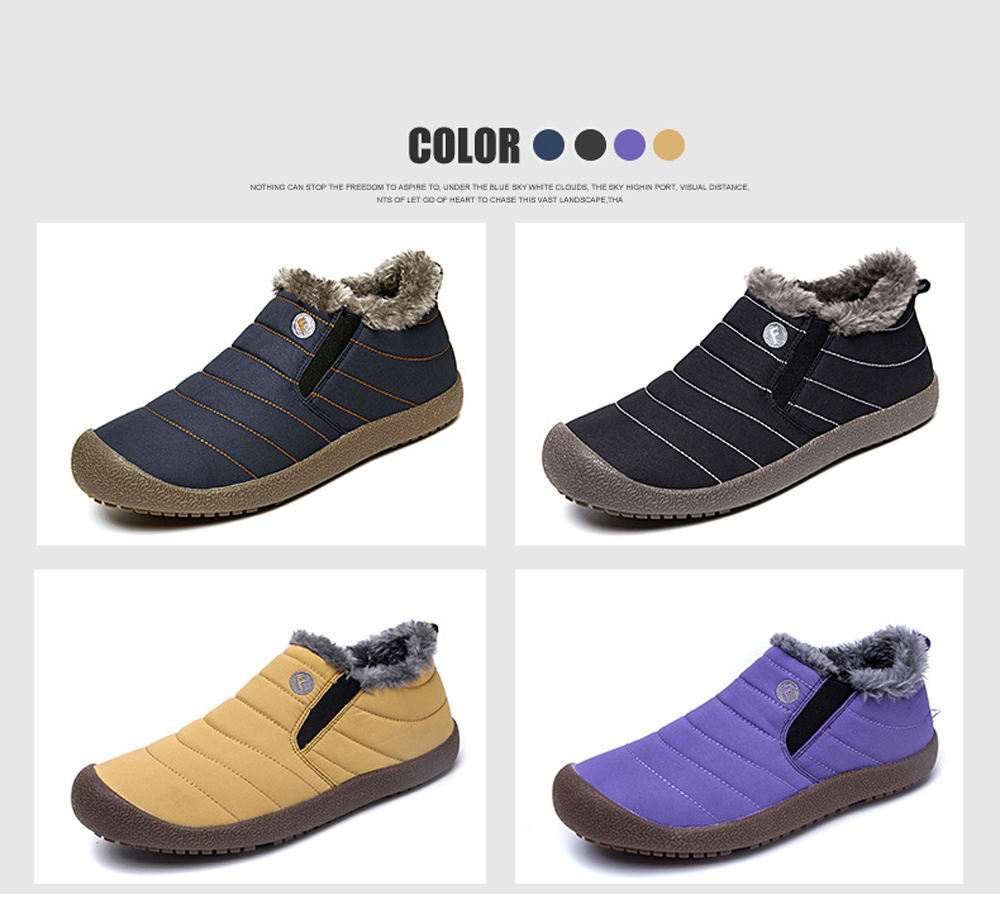 4 Colors Men Cotton Warm Slip on Winter Plus Size Shoes