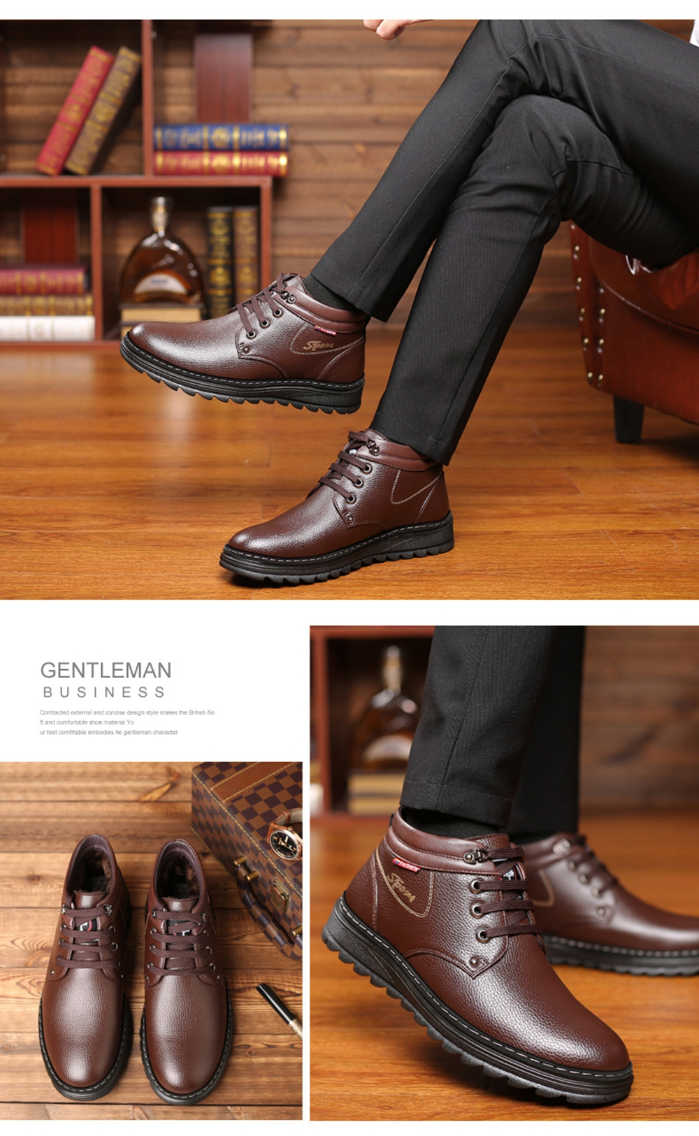 Muhuisen Winter Leather Shoes Warm Working Casual Lace Up Flats Male D Island Oxford Loafers Genuine Brown Boots Black Eu 42