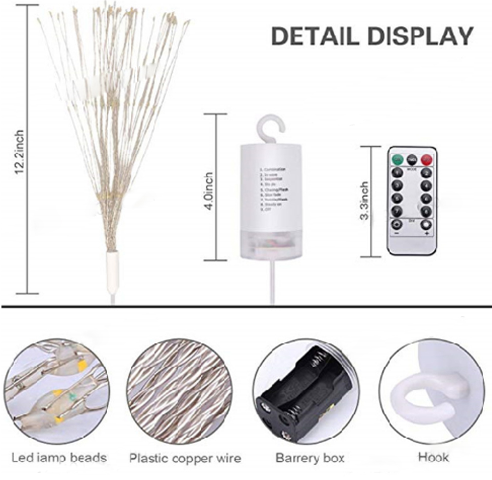 150 Led Fireworks Style Copper Wire String Light Tree Wiring Diagram For Christmas Day Decoration With Remote Control